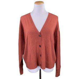 LOFT Burnt Orange V-Neck Button Down Knit Cardigan